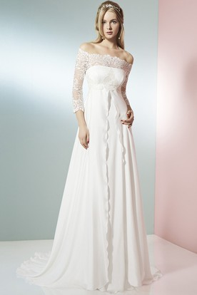 A Line 3 4 Sleeve Off The Shoulder Lace Empire Chiffon Wedding ...