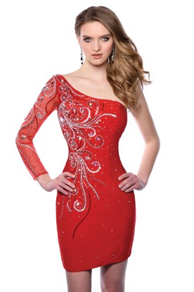 98fbdb32a7f Long Illusion Sleeve Sheath Short Homecoming Dress Featuring One-Shoulder  Design ...