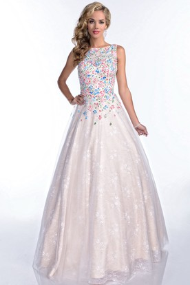 3b6aab3d3db0c Bateau Neck Sleeveless A-Line Lace Prom Dress With Bling Rhinestone Bodice  ...