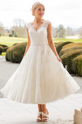 A Line Tea Length Liqued Scalloped Cap Sleeve Lace Wedding Dress