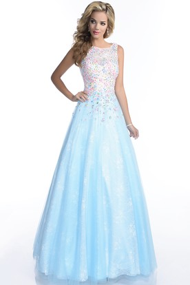4e14606cdbe A-Line Sleeveless Bateau Neck Lace Prom Dress Featuring Keyhole Back And  Jewels ...