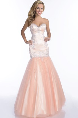 9e345ccb9 Tulle Mermaid Sweetheart Sleeveless Prom Dress Featuring Rhinestones  Appliques And Trim ...