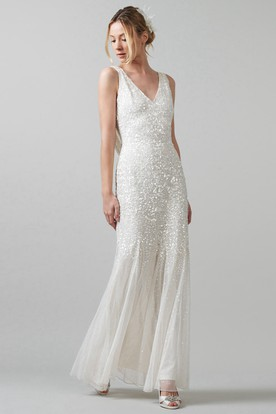 Simple wedding dresses under 100 dollars cheap wedding dresses sheath sleeveless v neck pleated floor length sequins wedding dress with low v junglespirit Images