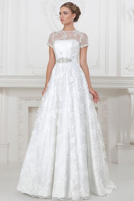 A Line Floor Length High Neck Liqued Short Sleeve Lace Satin Wedding Dress