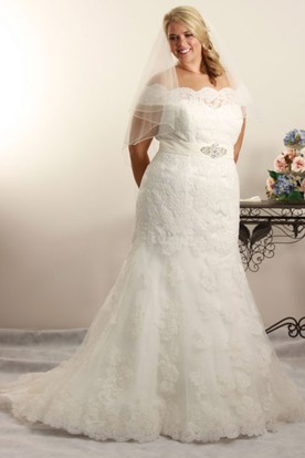 Trumpet Off The Shoulder Jeweled Long Lace Plus Size Wedding Dress With Liques