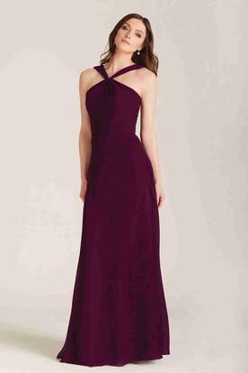 795f651cf41 Sleeveless Strapped Ruched Chiffon Bridesmaid Dress ...