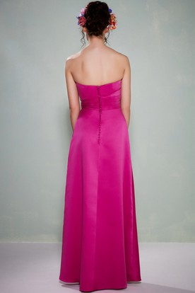 Floor Length Ruched Strapless Satin Bridesmaid Dress With Waist Jewellery