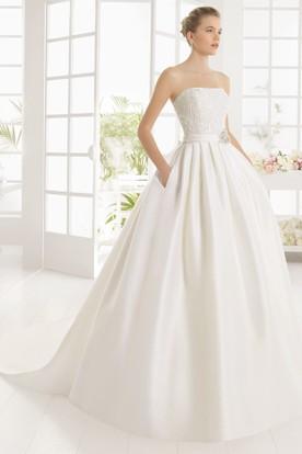 Ball Gown Sleeveless Beaded Strapless Floor Length Satin Wedding Dress With Broach
