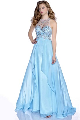 Chiffon A-Line Sleeveless Beaded Bodice Prom Dress With Keyhole Back ... 96190b359