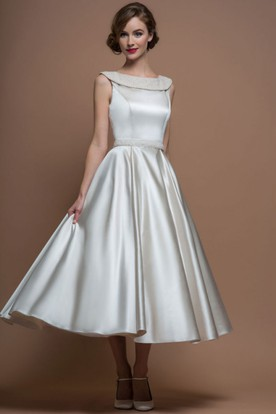 A Line Scoop Neck Tea Length Satin Wedding Dress With Beading And V