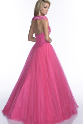 6ff60eebfe3 ... Cap Sleeve Tulle A-Line Quinceanera Dress With Crystal Top