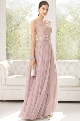45eee90c7fc Sheath Sleeveless Floor-Length Appliqued Jewel-Neck Tulle Prom Dress With  Flower And Pleats