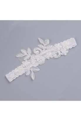538046e2c ... White Sexy Lace Applique Handmade Elastic Garter Within 16-23inch