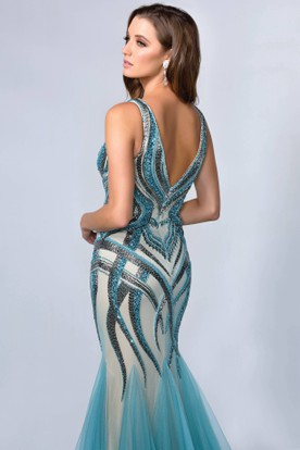 e6aacc990ab ... Mermaid V-Neck Sleeveless Tulle Low-V Back Dress With Beading And Pleats