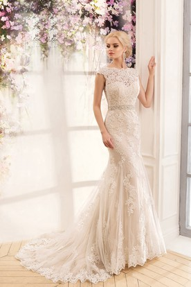 c01f59dac8a Mermaid Long Jewel Cap-Sleeve Deep-V-Back Lace Dress With Appliques And ...