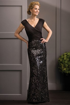 2ca30a6419c V-Neck Cap-Sleeved Mother Of The Bride Dress With Crisscross Ruches And  Sequins ...