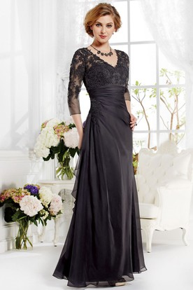 1db4e33a158e 3-4 Sleeved V-Neck A-Line Gown With Appliques And Pleats ...