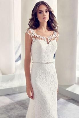 Jeweled V Neck Cap Sleeve Lace Wedding Dress