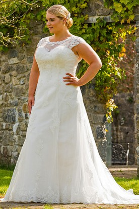 A Line Scoop Neck Maxi Lace Plus Size Wedding Dress With Liques