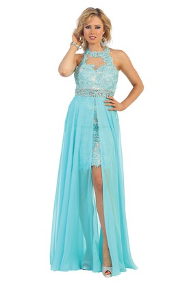 A Line High Neck Chiffon Lace Illusion Dress With Waist Jewellery And Split Front