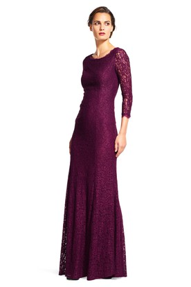 Sheath 3 4 Sleeve Maxi Scoop Neck Lace Bridesmaid Dress With V Back