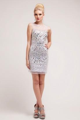 34de815b0d9 Pencil Short Bateau Sleeveless Dress With Crystal Detailing ...