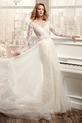 Long sleeve wedding dresses sleeved lace dresses ucenter dress long sleeve v neck wedding dress with low v back and beaded waistline junglespirit Images