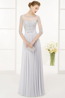 Long Beaded Gowns with Sleeves
