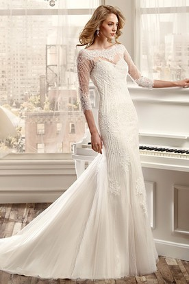 Mermaid wedding dresses with sleeves mermaid wedding dresses sheath beaded bateau long 3 4 sleeve tulle wedding dress with appliques and illusion junglespirit Gallery