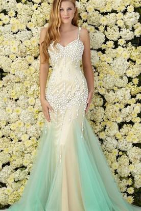 6a41d75b5e Muti-Color Mermaid Long Spaghetti Sleeveless Tulle Jersey Dress With  Beading ...