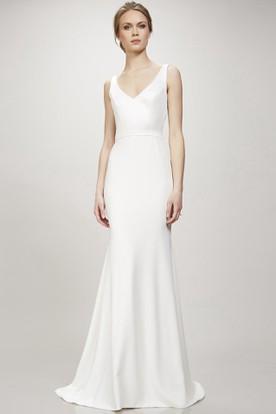 22fdb85606 Long V-Neck Wedding Dress With Sweep Train And V Back ...
