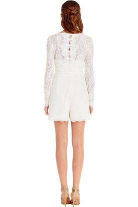 Long-Sleeve Scoop-Neck Knee-Length Lace Little White Dress