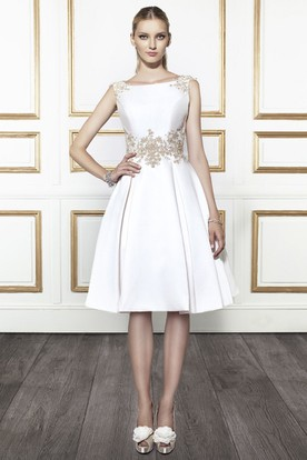 Short wedding dresses with sleeves wedding dresses with sleeves bateau midi appliqued satin wedding dress with v back junglespirit Image collections