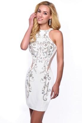 4aa2fd1c51 Jewel Neck Sleeveless Short Sheath Homecoming Dress With Iridescent  Embellishment ...