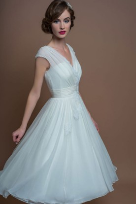 A Line V Neck Tea Length Cap Sleeve Liqued Tulle Wedding Dress