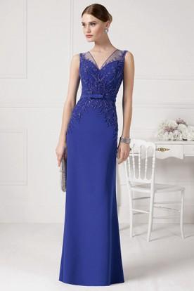 c87a09d333 Sheath Floor-Length V-Neck Beaded Sleeveless Chiffon Prom Dress With Bow ...