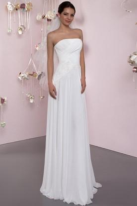 493662bb0c9 Sheath Ruched Strapless Sleeveless Long Chiffon Wedding Dress With Corset  Back And Pleats ...