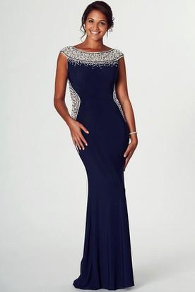 4f6c9c1af1a Pencil Beaded Cap-Sleeve Bateau Midi Jersey Prom Dress With Zipper Back And  Brush Train ...