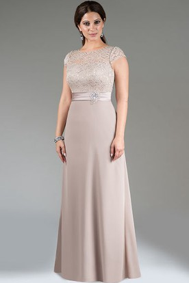 b66cac9c37a49 Scoop Neck Cap Sleeve A-Line Long Mother Of The Bride Dress With Lace Top