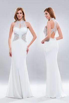 Sheath High Neck Sleeveless Jersey Keyhole Dress With Liques