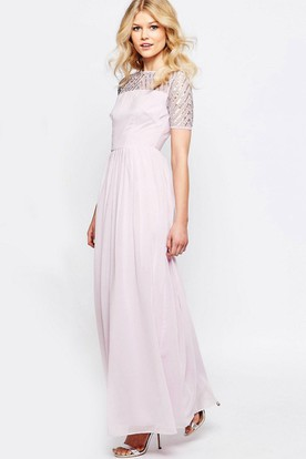 Short Sleeve Pleated Scoop Neck Chiffon Bridesmaid Dress