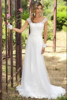 Country rustic wedding gowns country bridals dresses ucenter dress sheath cap sleeve scoop neck tulle wedding dress with lace and sweep train junglespirit Image collections