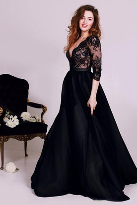 d33d404c8944 Sexy Black Lace Appliques V-neck 2018 Evening Dress 3-4-Length Sleeve ...
