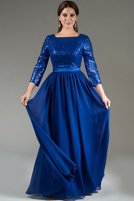 Prom dress for plus size with sleeves