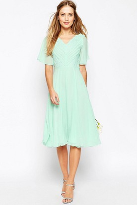 f8a263c0e991 Knee-Length Ruched Poet Sleeve V-Neck Chiffon Bridesmaid Dress With Lace ...