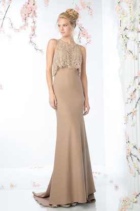 Sheath Long Scoop Neck Sleeveless Jersey Illusion Dress With Beading And Lace