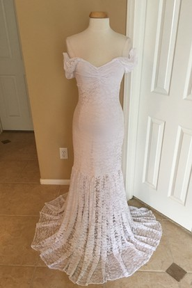 a17febed48 ... Mermaid Lace Off-the-shoulder Short Sleeve Pleated Ruched Maternity  Wedding Dress