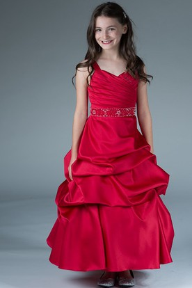 b213bae5a Flower Girl V Neck Taffeta Ball Gown With Ruffles And Beading Waist