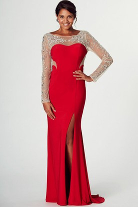 cd1dca8169 Long-Sleeve Beaded Long Bateau-Neck Jersey Prom Dress With Split Front ...