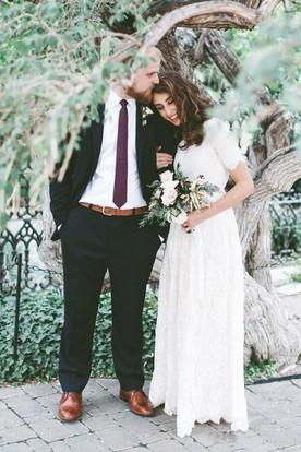 53ab30e85eac A Line Jewel Lace Zipper Wedding Gown ...